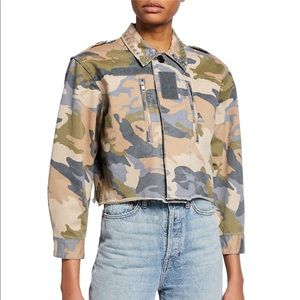 Cropped Camo-Print Studded Military Jacket size S